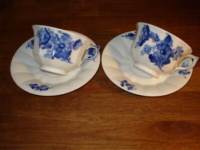 2 x BLUE FLOWER Angular TEA Cup & Saucer # 10- 8500 Royal Copenhagen Fact. 1