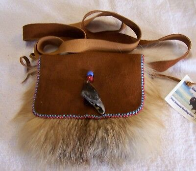 Hand Made Beaded Red Fox Fur Pouch Rendezvous Black Powder Mountain Man  2