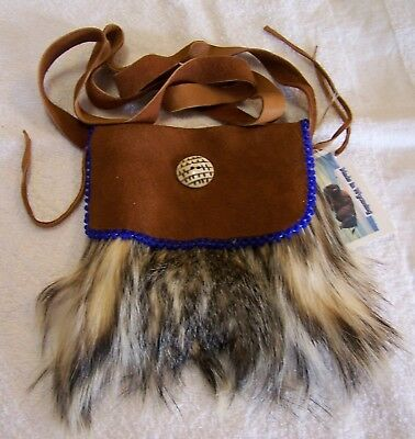 Hand Made Beaded Badger Fur Pouch Rendezvous Black Powder Mountain Man  1