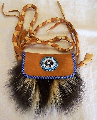 Hand Made Small  Beaded Skunk Fur Pouch Rendezvous Black Powder Mountain Man 2