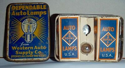 Vtg Dependable Auto Lamps Bulbs Western Supply Store Tin Box kit advertising
