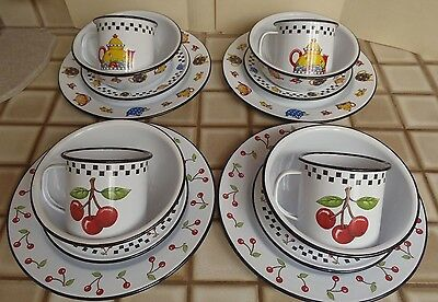 Mary Engelbreit 16 pieces Enamelware Dishes Plates Bowls Mugs Cherrys Teapots ME