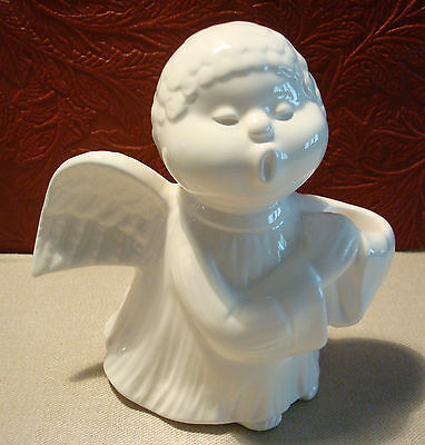 Vintage Fitz & Floyd Angel Candle Holder 1976 White Curly Haired Boy  #3