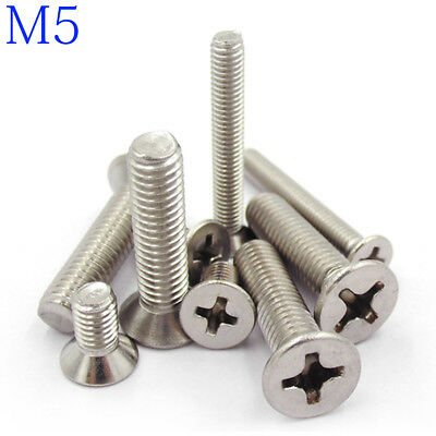 M5 304 Stainless Steel Phillips FLAT HEAD Machine Screw DIN 965 Bolts ISO 7046