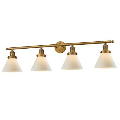 Innovations 4 Light Large Cone Bathroom Fixture in Brushed Brass - 215-BB-G41