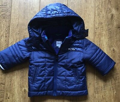 hugo boss coat/jacket hood 6 Months designer padded .winter boy Mint Condition