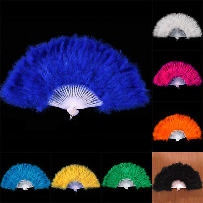 Feather Fan Folding Hand Costume Wedding Showgirl Dance Fancy Party Decoration