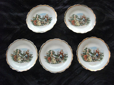 5 Vintage Mini Saucers With Gold Trimming