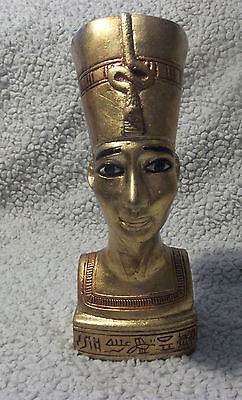 Vintage Gold Leaf Nefertiti Hand Painted Statue Egyptian Made OF Basalt 7.5x3x2