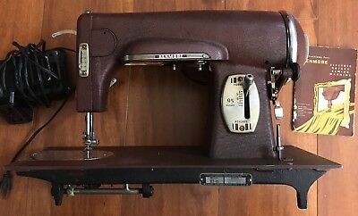 Rare Red Art Deco Industrial SteamPunk Sewing Machine Light Antique Metal Works
