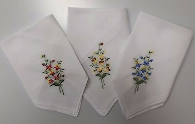 Ladies 6 pack Flower Embroidered Handkerchiefs White with  3 colours Embroidery