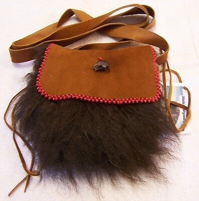 Hand Made  Beaded Buffalo Fur Pouch Rendezvous Black Powder Mountain Man 3