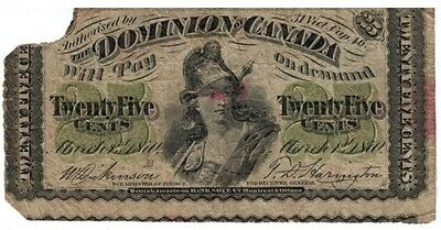 Dominion of Canada 25 cent Note Twenty Five Cents 1870 Shinplaster Dickinson