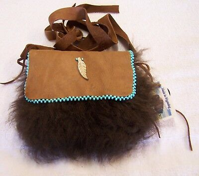 Hand Made  Beaded Buffalo Fur Pouch Rendezvous Black Powder Mountain Man 5