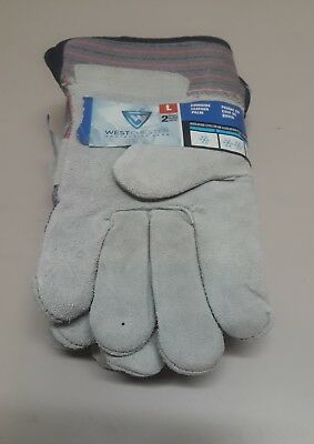West Chester 2 Pair Gloves Size Large Medium Insulation Cold Weather cowhide