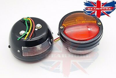 2x  12V REAR LIGHT STOP TAIL INDICATOR TRAILER LORRY CAMPER CARAVAN REFLECTOR