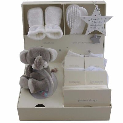 Packed keepsake/memory case/box with drawers baby gift basket baby hamper unisex