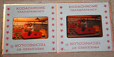 Vintage Lot 2 Technicolor Kodachrome Transparency Slides Man on Carnival Ride