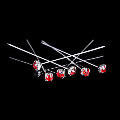 12 36 or 72 4cm Red Quality Diamante Pins Luxury Crystal Diamonte 1.5 4mm