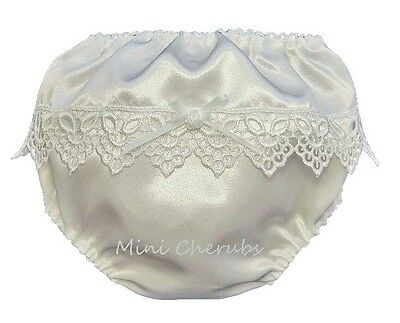 Baby Girls White Satin Knickers With Lace & Rosebud Trim M 3-6m