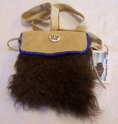 Hand Made Beaded Buffalo Fur Pouch Rendezvous Black Powder Mountain Man 13