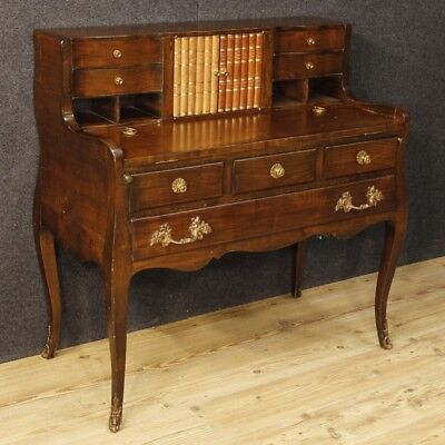 Writing desk table wood furniture bureau bronzes antique style 900 XX antiquity