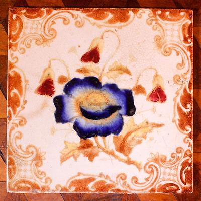 LOVELY Old Antique Arts & Crafts Victorian Blue Flower Tile Aesthetic Decorative