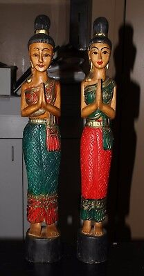 "Pair of Thai Sawasdee Lady Statues Approximately 20"" Each"