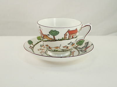 Crown Staffordshire HUNTING SCENE Cup & Saucer Set