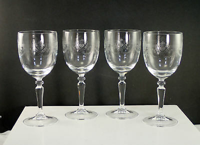 """Cristal D'Arques DAMPIERRE 7"""" Etched Water Goblet Lot Of 4"""