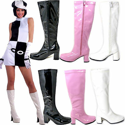 New Women's Fancy Knee High Boots Patent Leather Chunky Heel Zip Retro Shoes A57