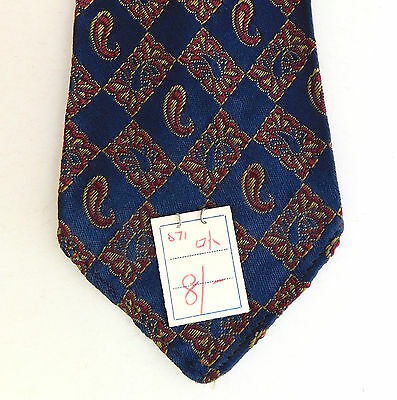 Lloyds vintage tie Paisley pattern + original price tag 1950s 1960s SHOP SOILED