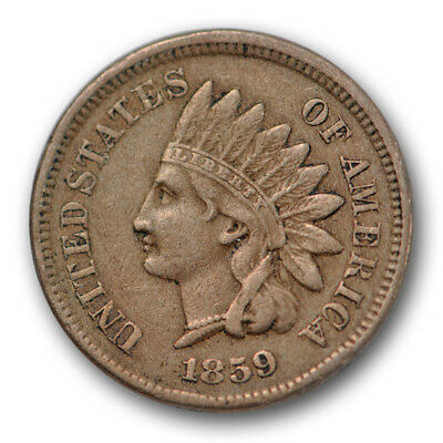 1859 Indian Head Cent Extra Fine XF Original US Coin 1c #7790