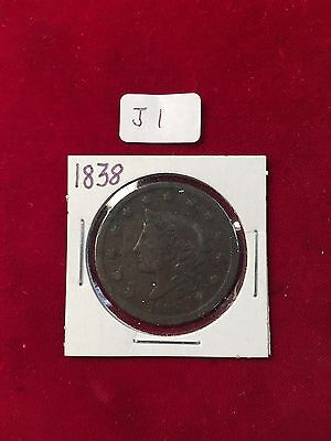1838  U.S. Large Cent Okay used Condition near black toning  J1
