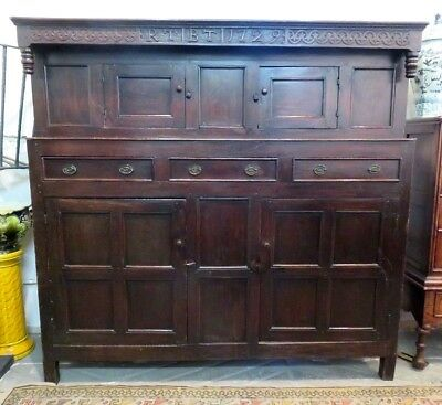 Late 17Th - Early 18Th C Antique Solid Oak Carved Credence Or Court Cupboard