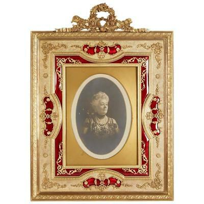 LARGE French Gilt Bronze Ormolu and Red Guilloche Enamel Picture Photo Frame