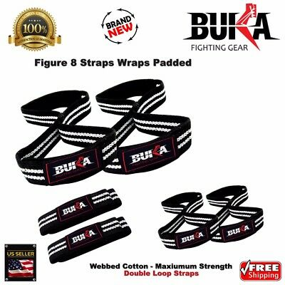 b774f6b41833 Figure 8 Weight Lifting Straps Strength Gym Bar Padded Wrist Gloves work  out New