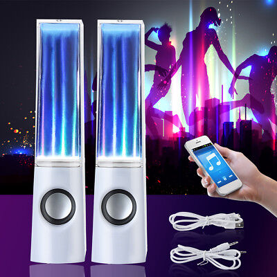 2X LED Light Water Dancing Speakers Black Show Music Fountain for Phone Computer