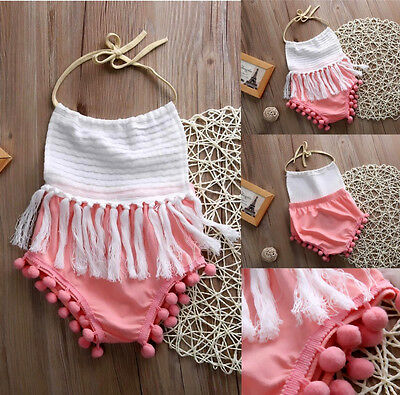 US Toddler Baby Girls Summer Romper Bodysuit Jumpsuit Outfits Clothes NEW Mon