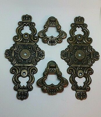 Vintage Ornate Set of 2 Drawer Plates with Knocker Pulls Hyer Metal Furniture