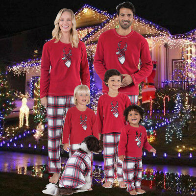US STOCK Family Matching Christmas Pajamas Set Women Baby Kids Deer Sleepwear