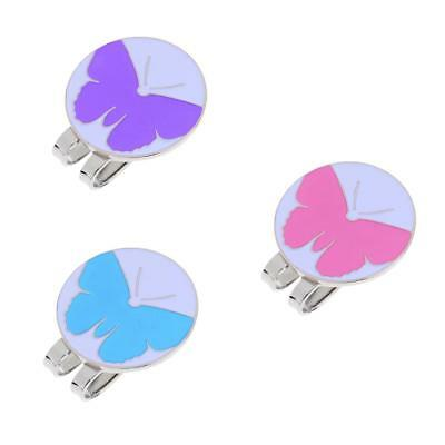 3Pcs Magnetic Visor & Hat Clip with Golf Ball Marker Cute Butterfly Patterns