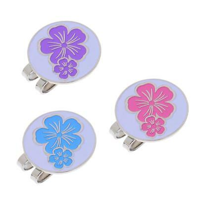 3Pcs Magnetic Visor & Hat Clip with Golf Ball Marker Cute Flower Patterns