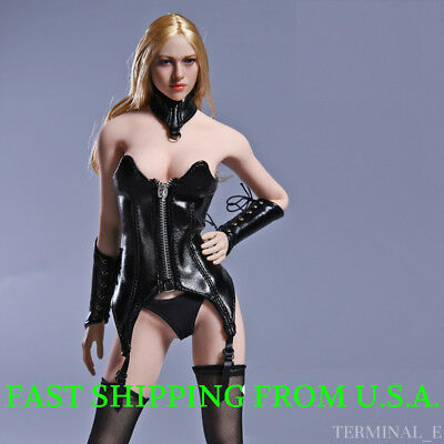 "1/6 Sexy Leather Corset Lingerie Set For 12"" PHICEN Hot Toys Female Figure ❶USA❶"