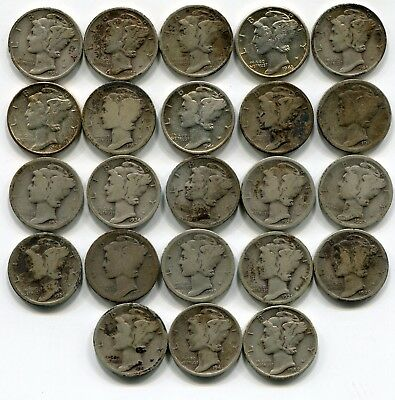 Lot of 23 Silver Mercury Dimes-  1917 - 1945 ALL Different Dates  Circulated