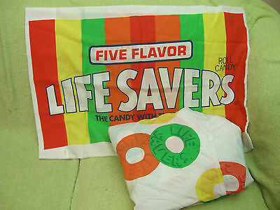 LIFESAVERS Vintage SHEET + PILLOWCASE Bedding Fabric Fitted LIFE SAVERS Candy