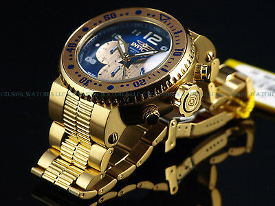 New Invicta Mens 52mm Combat Seal 500M Diver 18K Gold IP Sapphire Blue SS Watch