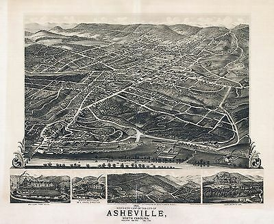 1891 ASHVILLE old NORTH CAROLINA map GENEALOGY atlas  poster BUNCOMBE county  1