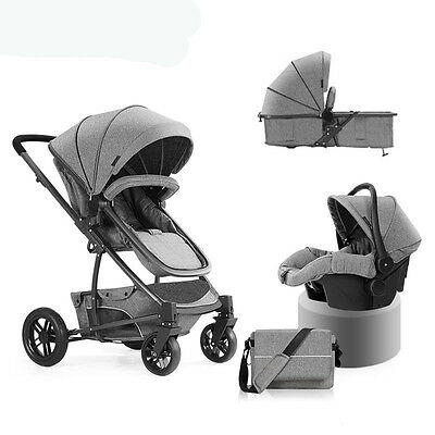 Luxury 3 in 1 Baby Stroller High View Travel Pram Foldable Pushchair & Car Seat.