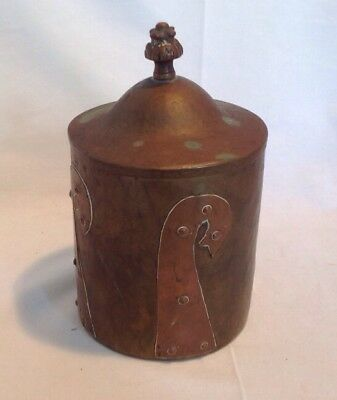 "Antique Arts & Crafts Brass & Copper Handmade Hand Hammered Tobacco Humidor 8""T"
